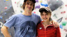 """Emanuel Soraperra und Angela """"Angy"""" Eiter im Kletterzentrum Bergstation. Foto: Knut Kuckel"""