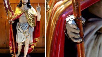 Der auferstandene Jesus vor der Restauration. Fotos: Markus Kniepeiß