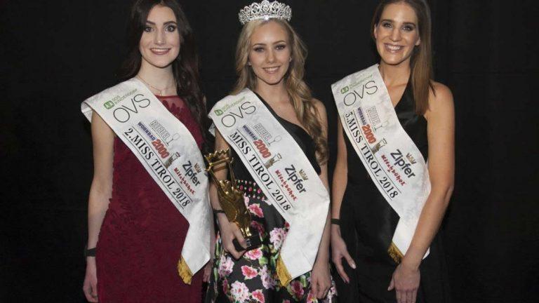 Theresa Ruetz aus Mieming ist neue Miss Tirol 2018. Zweitplatzierte wurde Marina Augsten aus Amras. Dritte war die Kitzbühelerin Mirjam Zender. Foto: Angelo Lair